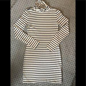 H&M navy blue and cream striped turtleneck dress